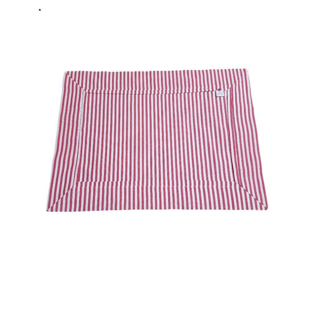 Lugar Americano Listrado Vermelho em tricoline 100% algodão