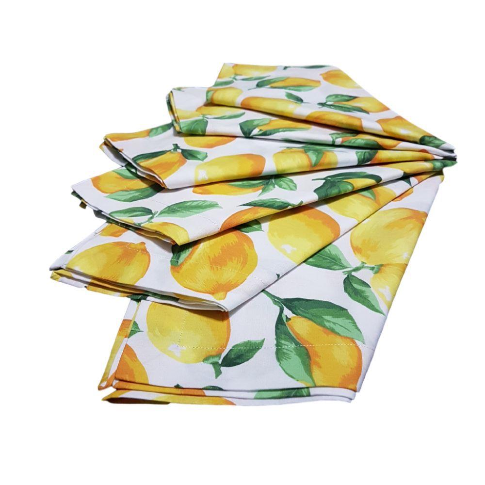 Kit Guardanapo com Estampa Frutas em tricoline 100% algodão - 6 pcs