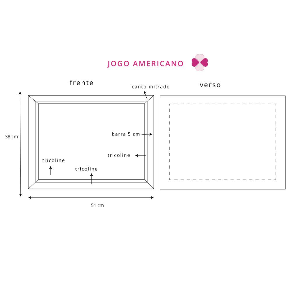Kit Jogo Americano  com Estampa Limão + Guardanapos + Porta Guardanapos - 8 pcs