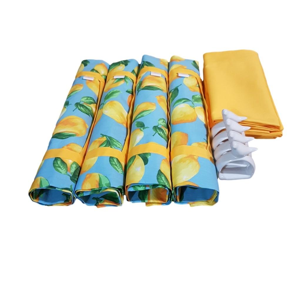 Kit Jogo Americano com Estampa Limão Siciliano Azul + Guardanapo + Porta Guardanapos - 4 Pçs