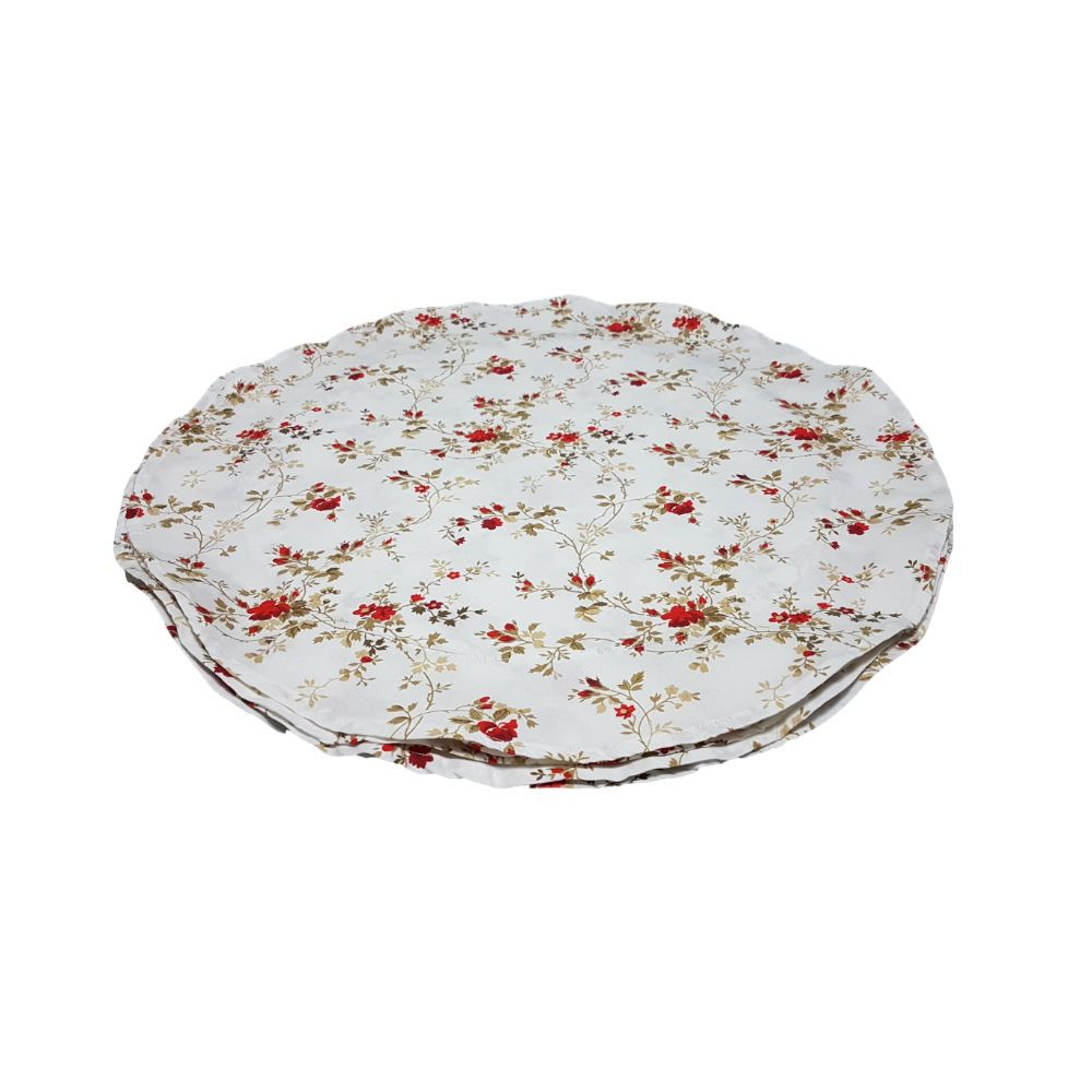 Kit Jogo Americano Redondo com Estampa Flores Vermelhas em tricoline 100% algodão - 6 pcs