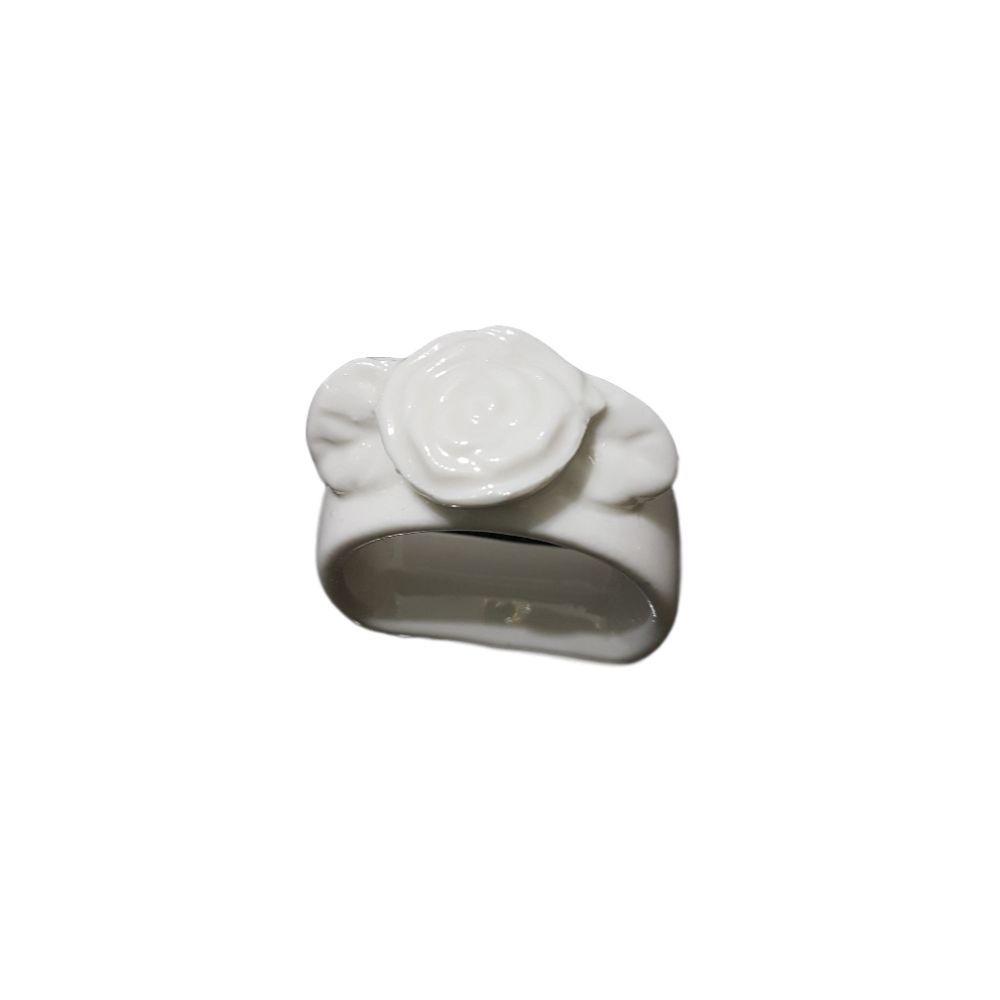 Porta Guardanapo de Porcelana Diversas Cores em formato de Rosa