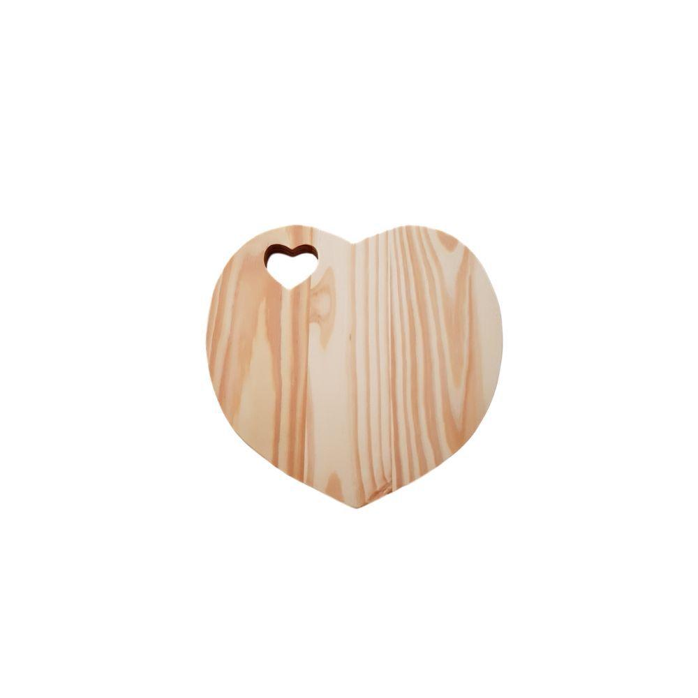 Tábua em Formato de Coração em madeira pinus