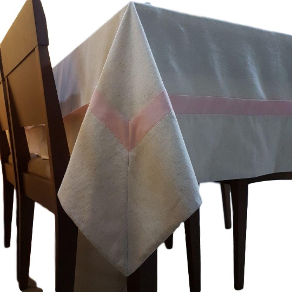 Toalha de mesa medindo 3.00 x 1.80 cm Bege com Detalhe Rosê em linho misto e tricoline 100% algodão