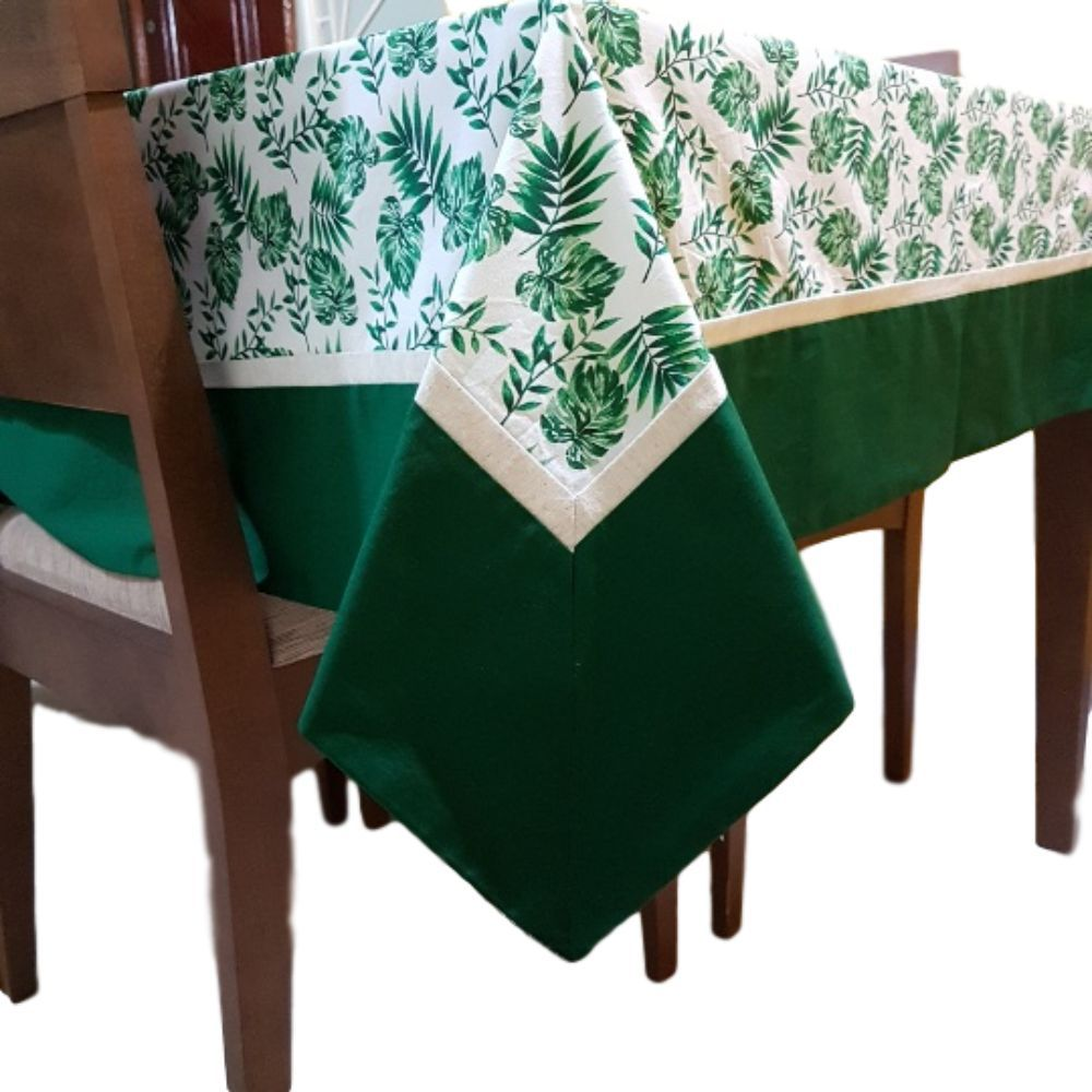 Toalha de Mesa 6 lugares Costela de Adão em linho misto e tricoline 100% algodão