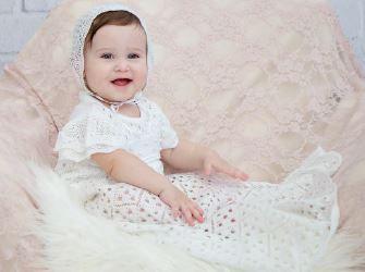 Mandrião Tricot Bebê Batizado Menina
