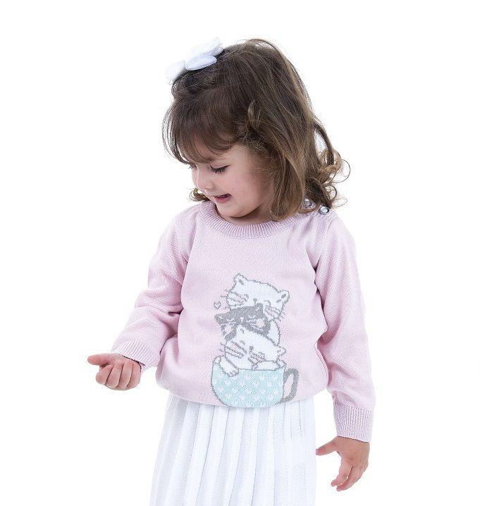 Sweater Tricot Infantil Menina Rose