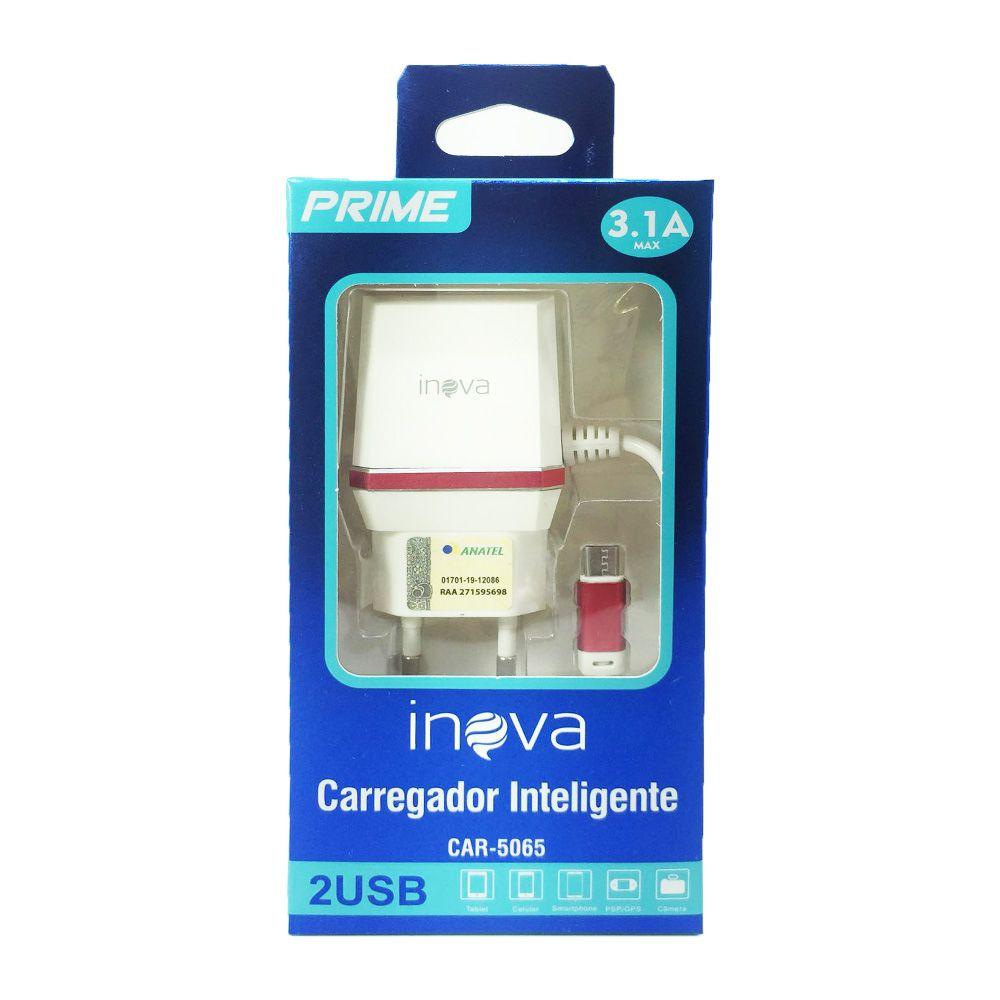 CARREGADOR DE PAREDE COM ENTRADA USB EXTRA INOVA V8 CAR-302Z