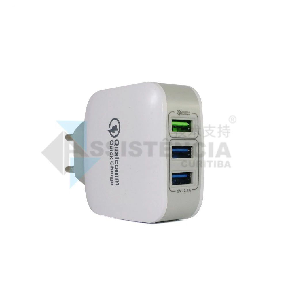 Carregador Usb Triplo Turbo Qualcomm Pmcell