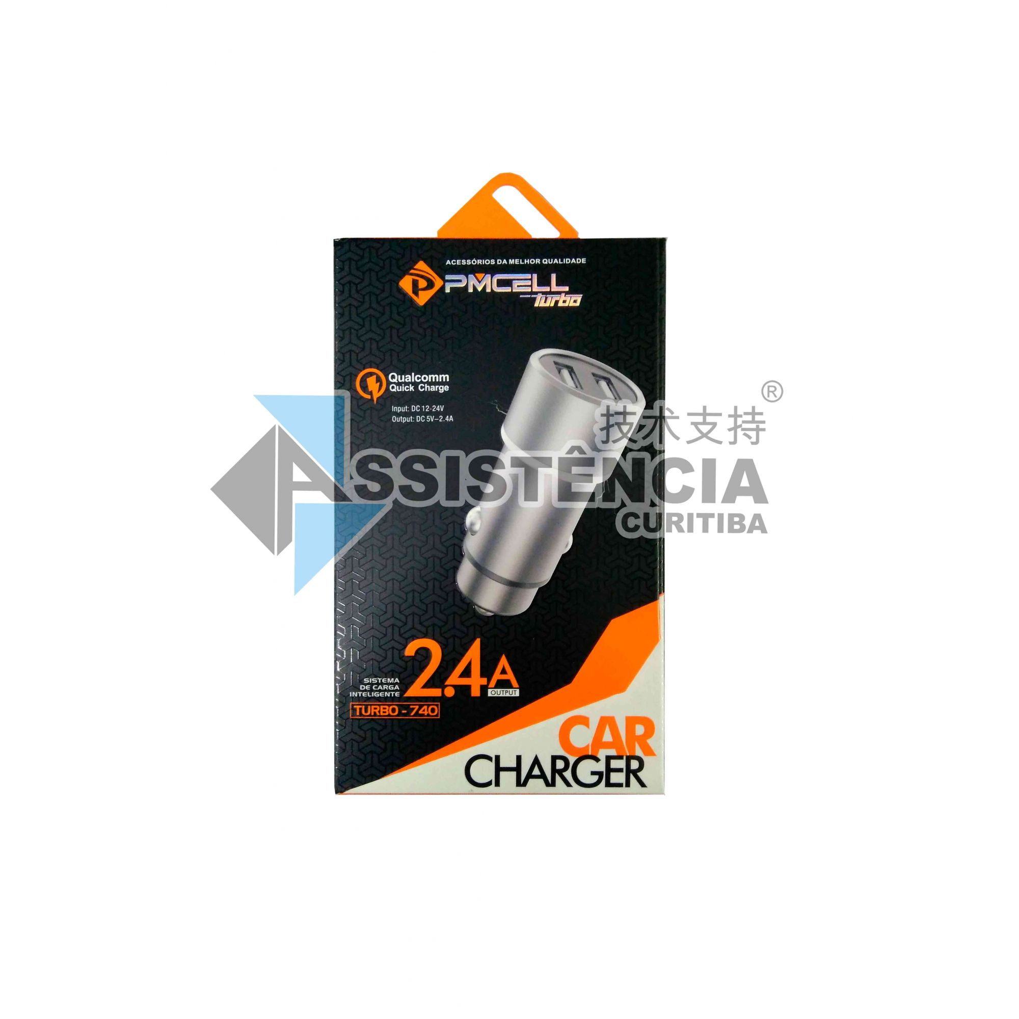 CARREGADOR VEICULAR PMCELL TURBO 740 CHARGER QUALCOMM 2.4A