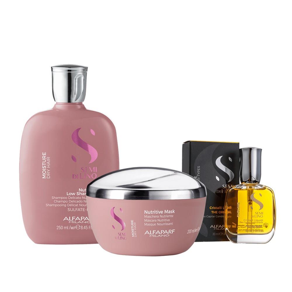Alfaparf Kit Moisture Nutritive Shampoo e Mascara + Cristalli Liquidi 30ml