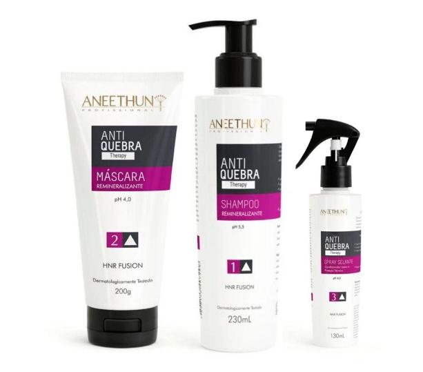 Aneethun Kit Anti Quebra Therapy - Shampoo, Mascara e Spray Selante