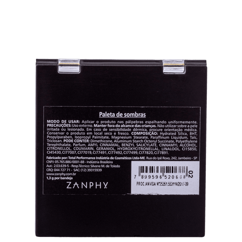 Zanphy 9 Cores N.02 - Paleta de Sombras 11,7g