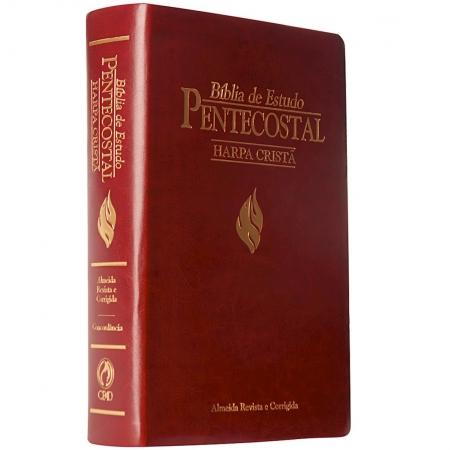 Bíblia de Estudo Pentecostal Média com Harpa Cristã - Vinho