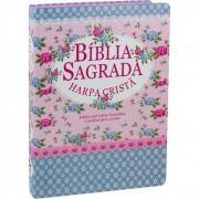 Bíblia Sagrada com Harpa Cristã - Letra  Gigante - Florida Azul
