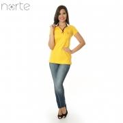 Camisa Polo Feminina Cotton Amarelo/Marinho Norte - Luxo