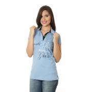 Camisa Polo Feminina Cotton Azul/Branco Norte - Sou Salva pela Graça