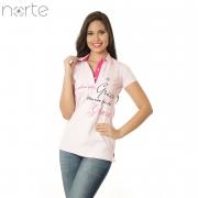Camisa Polo Feminina Cotton Rosa BB Norte - Sou Salva pela Graça