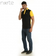 Camisa Polo Masculina Cotton Amarelo/Preto Norte - Luxo