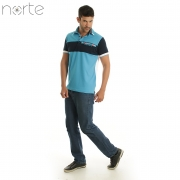Camisa Polo Masculina Cotton Azul/Branco Norte - Company Luxo