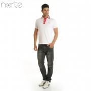 Camisa Polo Masculina Cotton Branca/Marinho Norte - Luxo