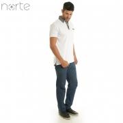Camisa Polo Masculina Cotton Branca Norte - Classic