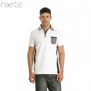Camisa Polo Masculina Cotton Branco/Preto Norte - Luxo