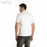 Camisa Polo Masculina Cotton Branco/Vermelho Norte - The Marine Luxo