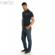 Camisa Polo Masculina Cotton Marinho/Amarelo Norte - The Marine Luxo