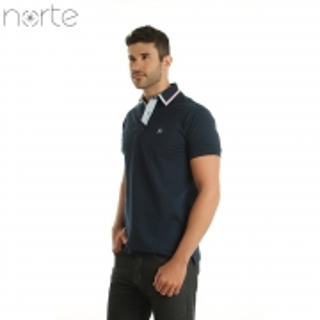 Camisa Polo Masculina Cotton Marinho Norte - Luxo