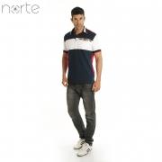 Camisa Polo Masculina Cotton Marinho/Vermelho Norte - Company Luxo