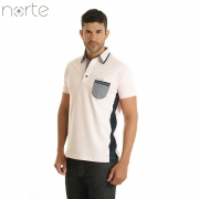 Camisa Polo Masculina Cotton Rosa/Marinho Norte - Luxo