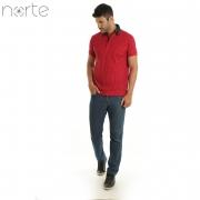 Camisa Polo Masculina Cotton Vemelho/Branco Norte - Luxo