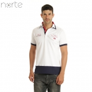Camisa Polo Masculina Piquet Branca/Marinho Norte - Yachting Luxo