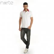 Camisa Polo Masculina Piquet Branco/Bordô Norte - Classic