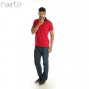 Camisa Polo Masculina Piquet Vermelho/Marinho Norte - Classic