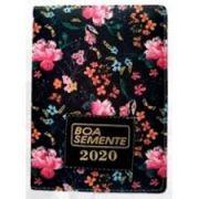 Livro Boa Semente 2020 Meditações - Preto com Flores