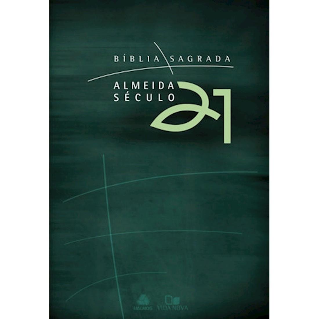 Bíblia Almeida Século 21 Brochura - Verde - com sobrecapa