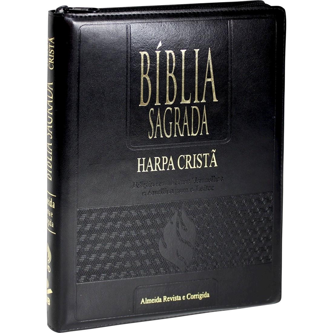 Bíblia Letra Gigante Edição com Letras Vermelhas RC com Harpa Cristã e Zíper