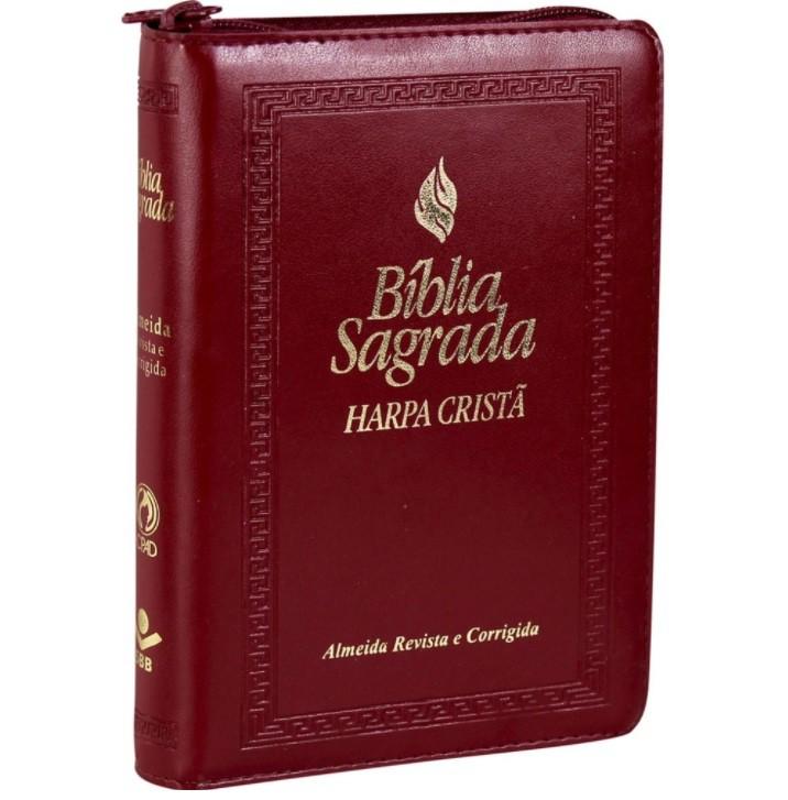 Bíblia Sagrada Fonte de Bênçãos Com Zíper e Harpa Cristã