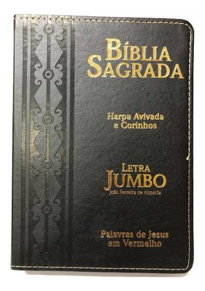 Bíblia Sagrada Letra Jumbo com Harpa Avivada e Zíper