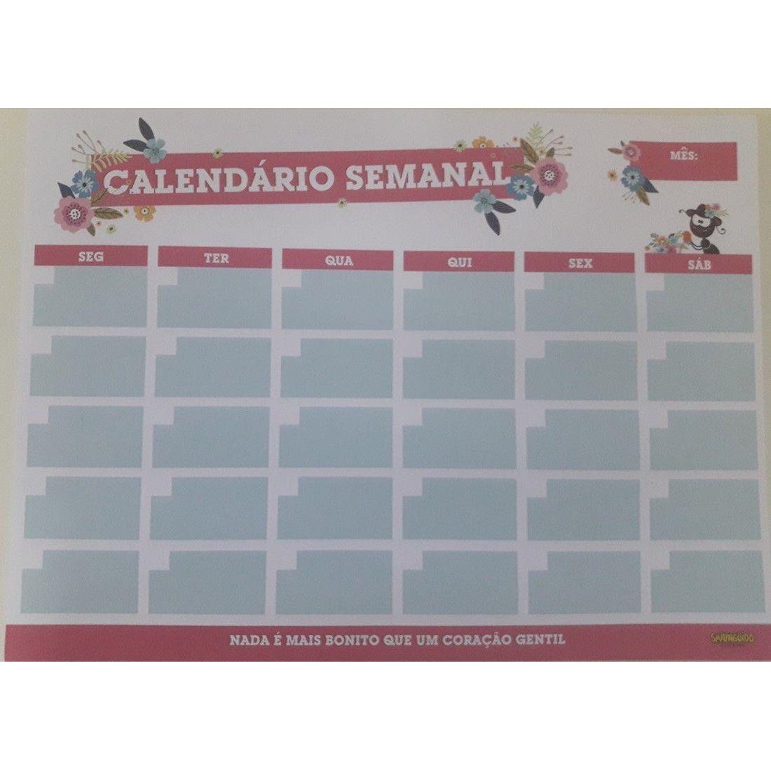 Calendário Semanal Faniquita - Rosa