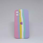 Capa iPhone 12 Autêntica Arco-Íris Algodão