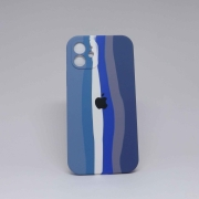 Capa iPhone 12 Autêntica Arco-Íris Azul