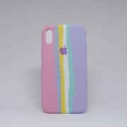 Capa iPhone XR Autêntica Arco-Íris Algodão