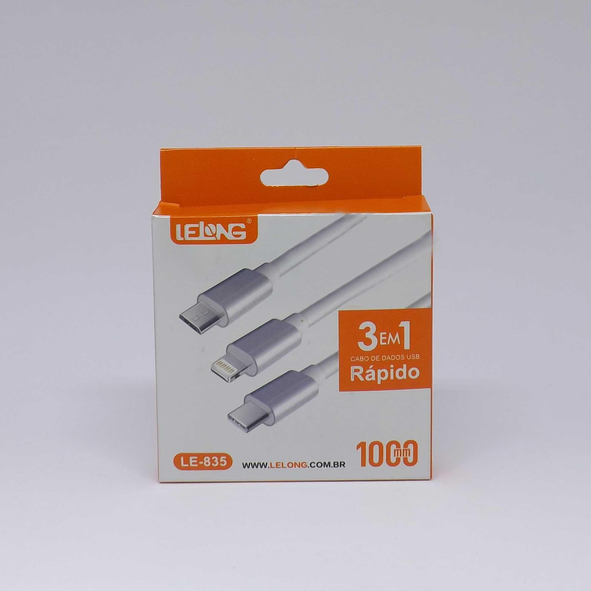 Cabo USB Lelong 3 em 1 (Lightning, V8 e Tipo C)