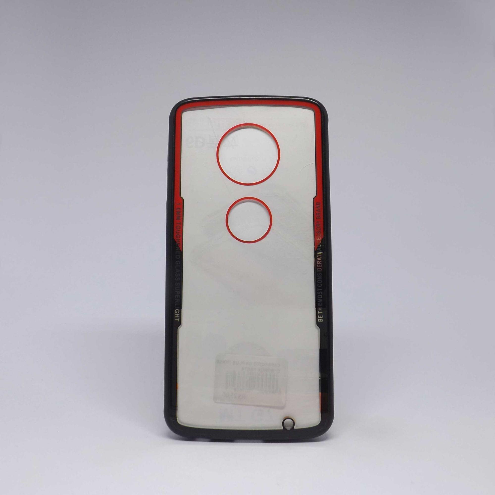 Capa Motorola G6 Plus Transparente com Borda Colorida
