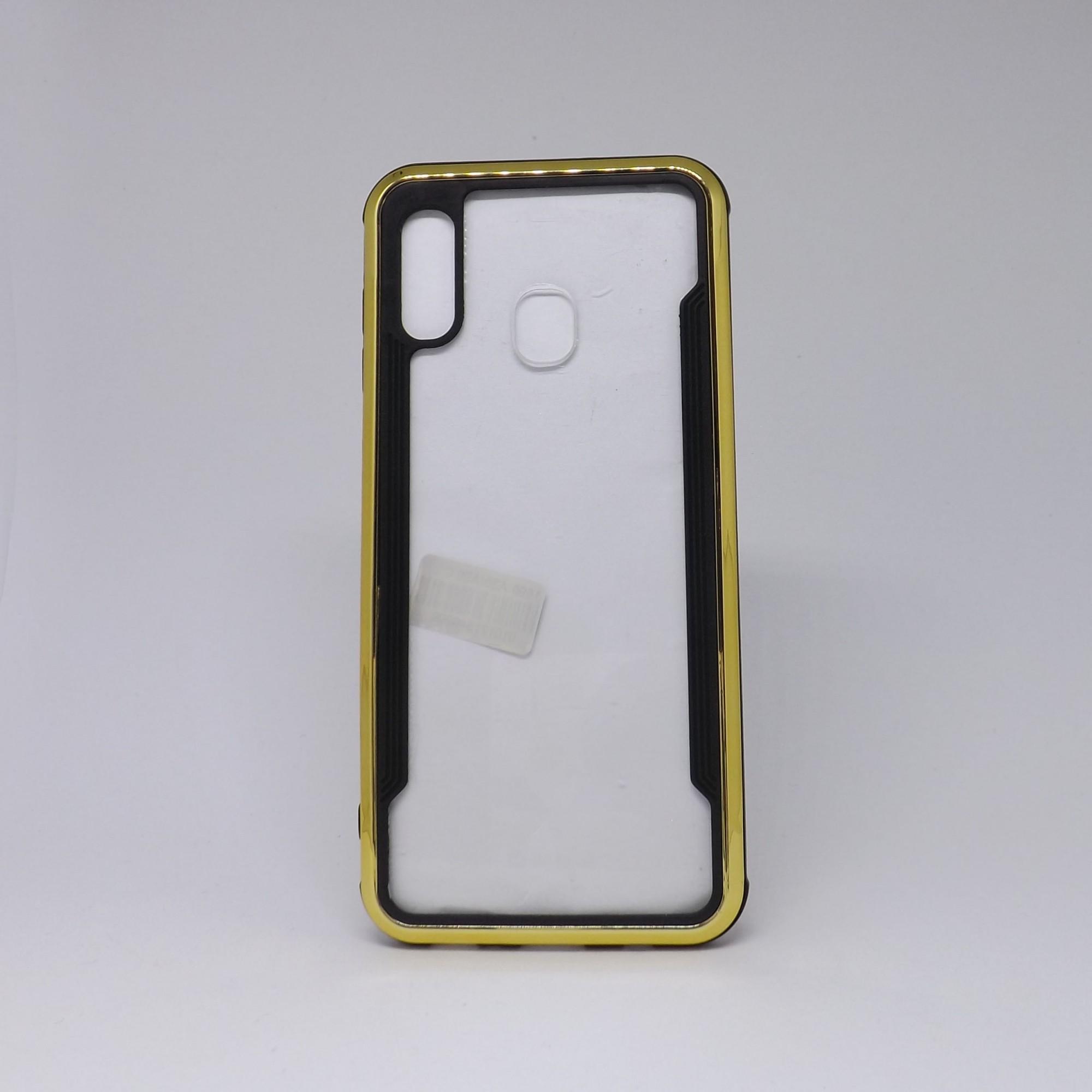 Capa Samsung Galaxy A20/30 Transparente com Borda Metalizada