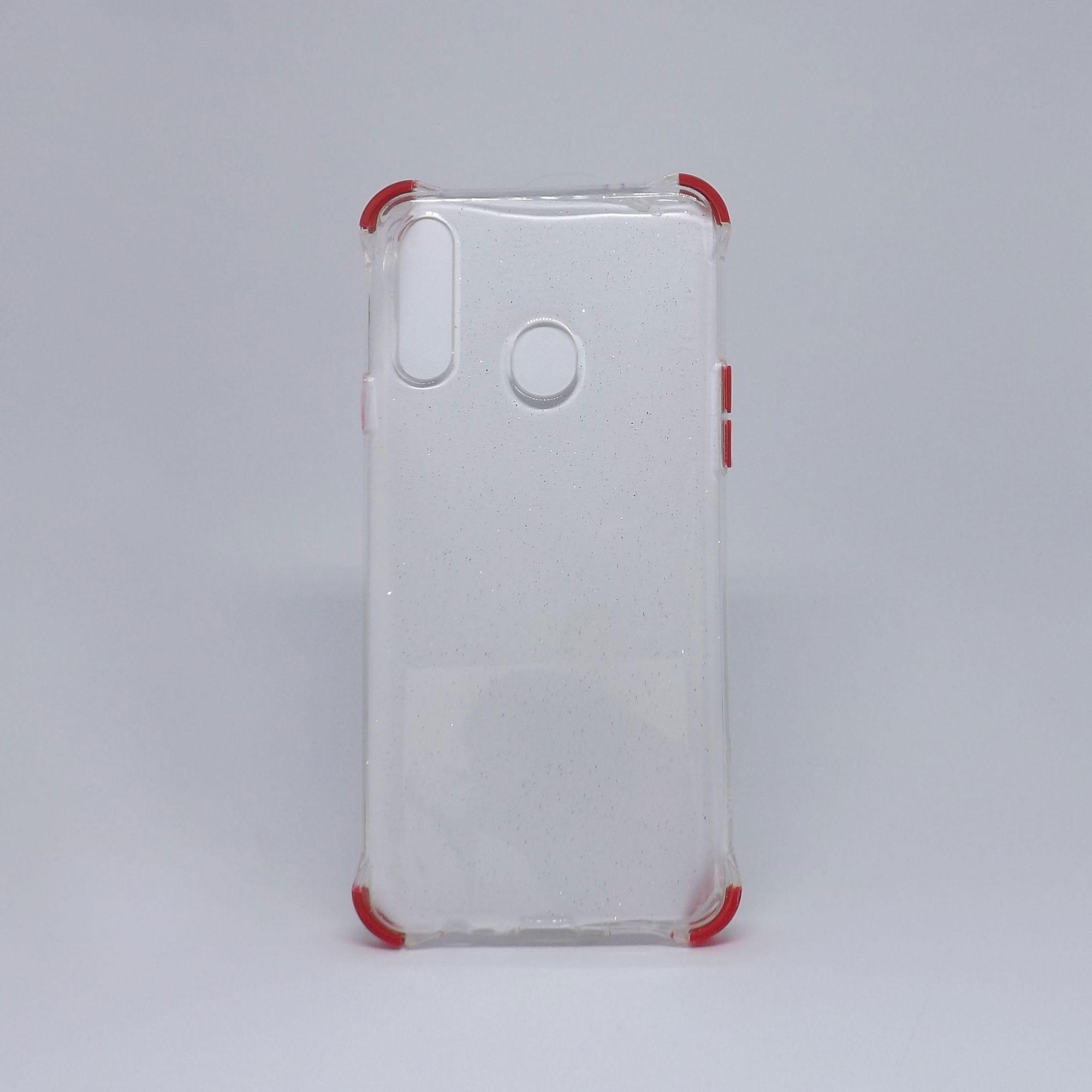 Capa Samsung Galaxy A20s Transparente com Glitter & Borda Colorida