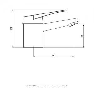 Misturador Monocomando Lavatório de Mesa You 2875.C74 Perflex 10749510